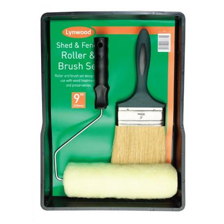 SHED AND FENCE festő készlet hengerrel, nyéllel, ecsettel és tálcával